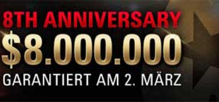 Sunday Million Jubiläumsfeier $8 Millionen garantiert auf PokerStars