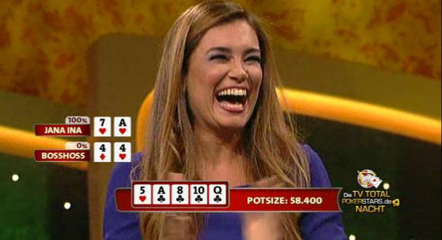 Jana-Ina Zarrella gewinnt TV-Total Poker Nacht