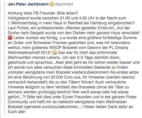 Eine Belohnung von 20.000 Euro ist für Informationen über die Verantwortlichen für den Einbruch Hat Jan Peter Jachtmann via Facebook ausgesetzt